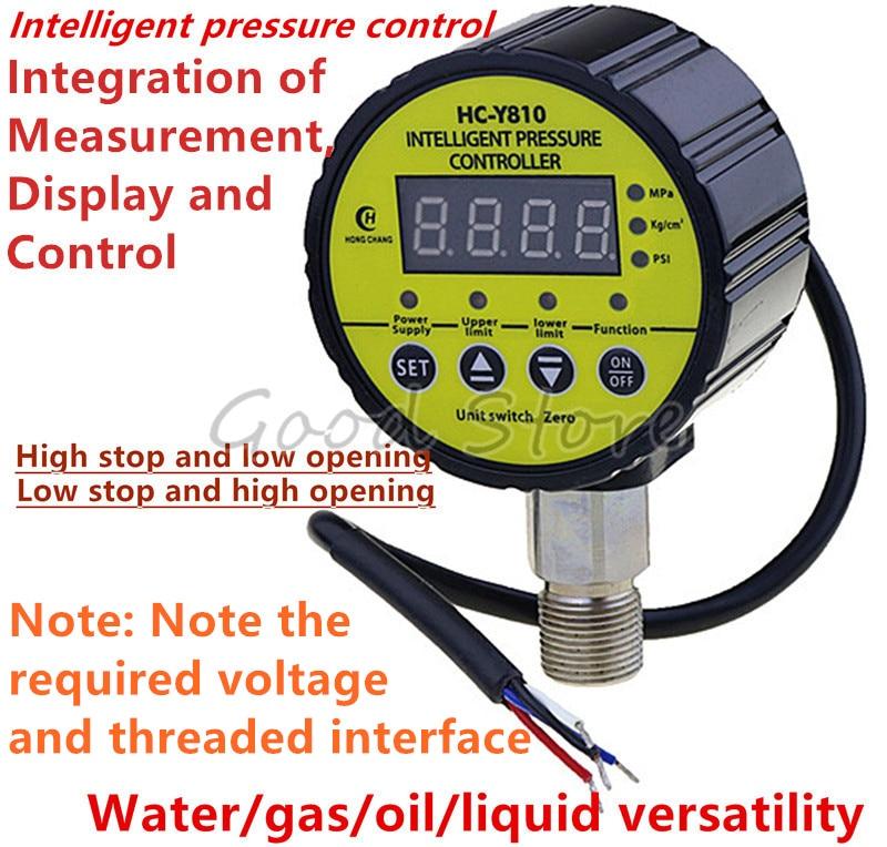 HC-Y810 Digital Pressure Gauge Digital Intelligent Pressure Gauge Pump Negative Pressure Water Pressure Switch Controller Yellow