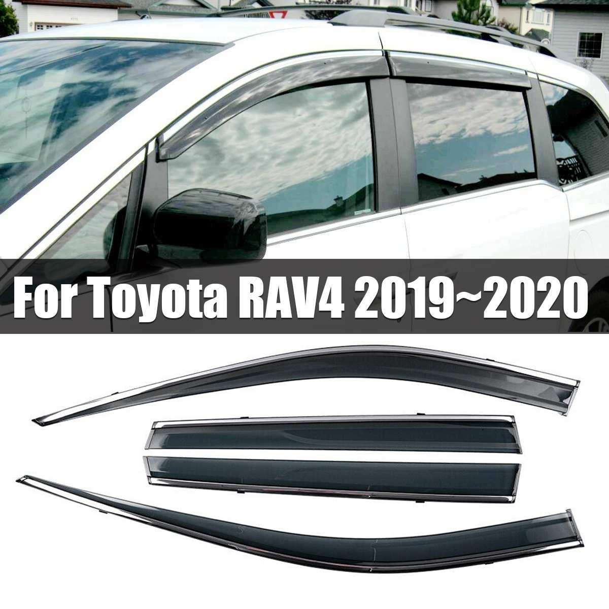 NOUVEAU 4 pièces Fenêtre Visière déflecteur de Pluie Garde garnitures chromées Évent Pare-Soleil Déflecteurs Pour Toyota RAV4 2019 ~ 2020