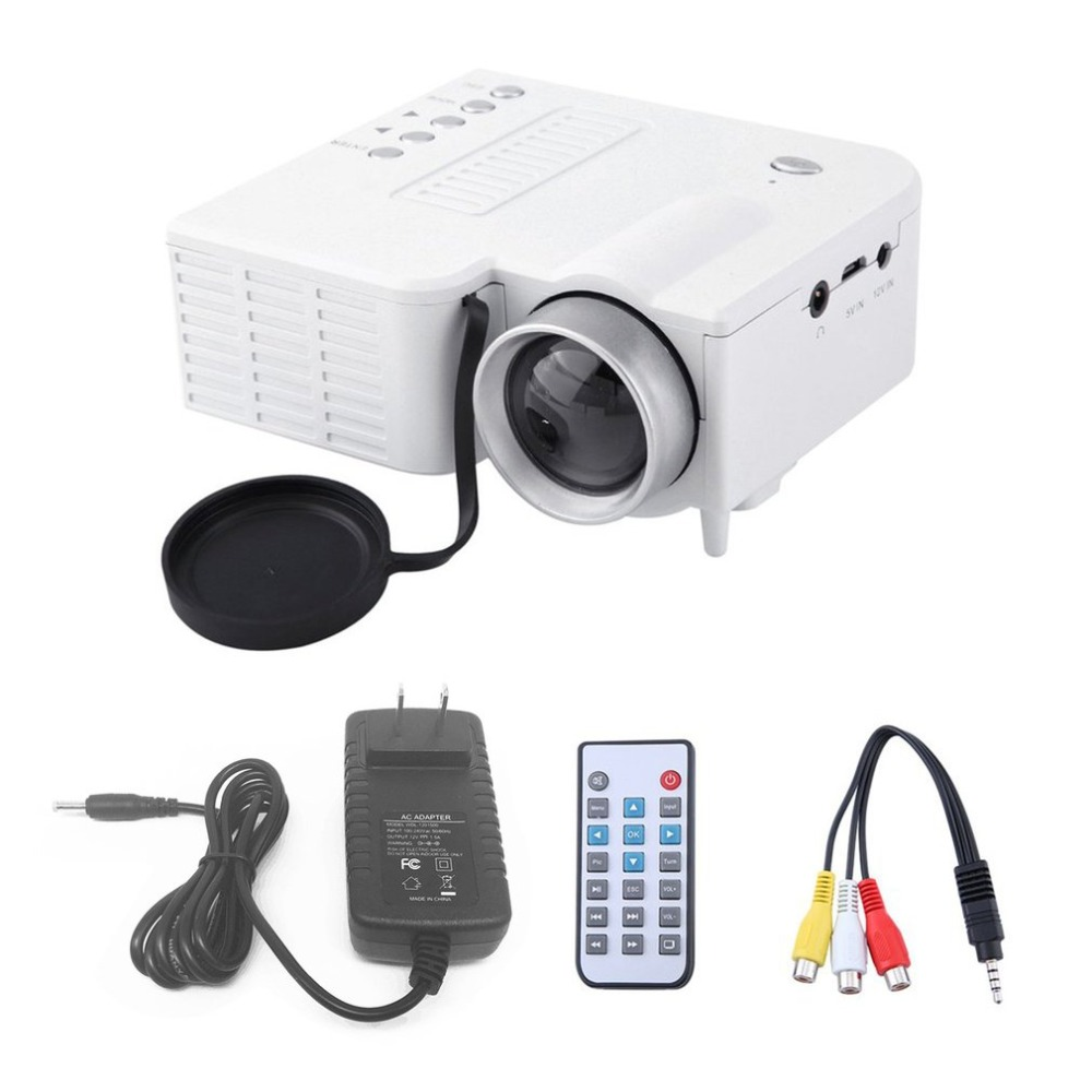 UC28A Mini Portable LED Projector 1080P Multimedia Home Cinema Theater USB TF HDMI AV LED Beamer Projector for Home Use uc40 55whd 1080p mini home 1080p led projector 50lm w hdmi av sd usb