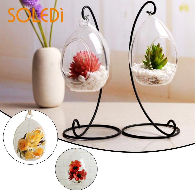 Nordic  Hanging Glass Vase Ellipse Terrarium Hydroponic Flower Ball Globe Shape Wedding Home Decor