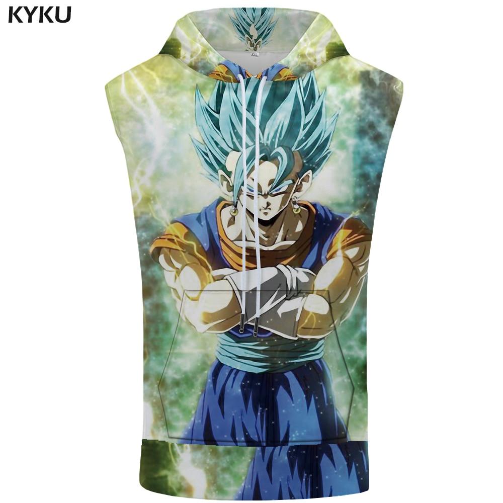 KYKU Brand Dragon Ball Hooded   Tank     Top   Goku Summer Gothic Bodybuilding Character Singlets Stringer Sleeveless Mens Clothing