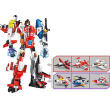 6 In 1 Mecha Robot Transform Helicopter Aircraft Legoings Building Blocks Kit Toys Gifts(China)