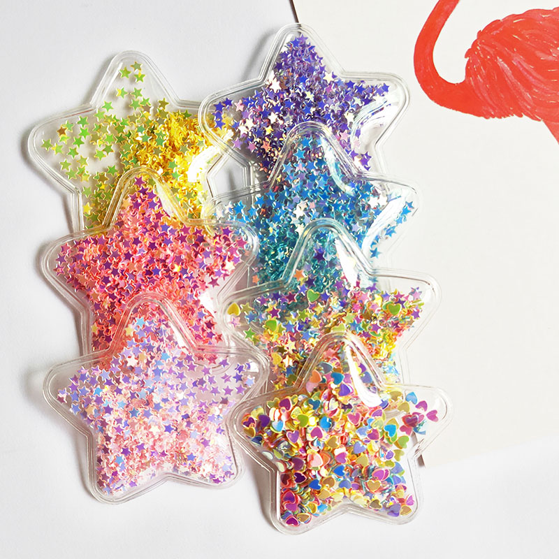 14pcs/lot 5cm Star Transparent Bling Bling Star Flowing Patches Appliques For Children Clip And DIY Hair Clip Accessories