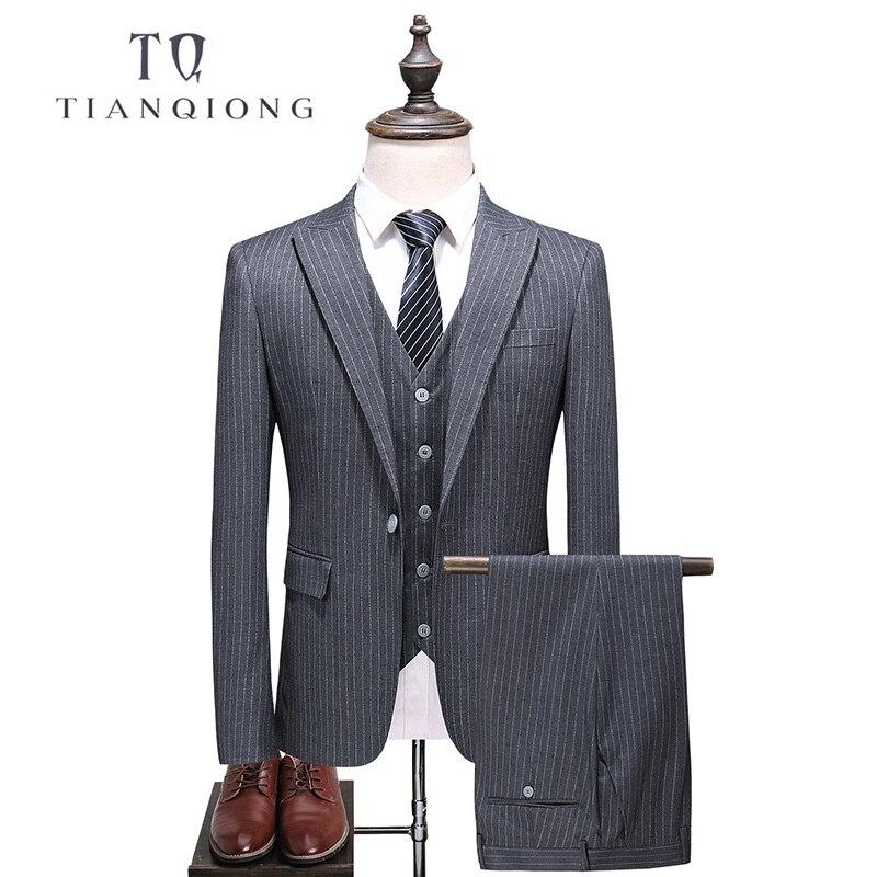 TIAN QIONG Men Striped GRAY Suit 2018 Slim Fit Men Suits For Wedding Latest Coat Pant Designs Mens Formal 3 Piece Business Suit