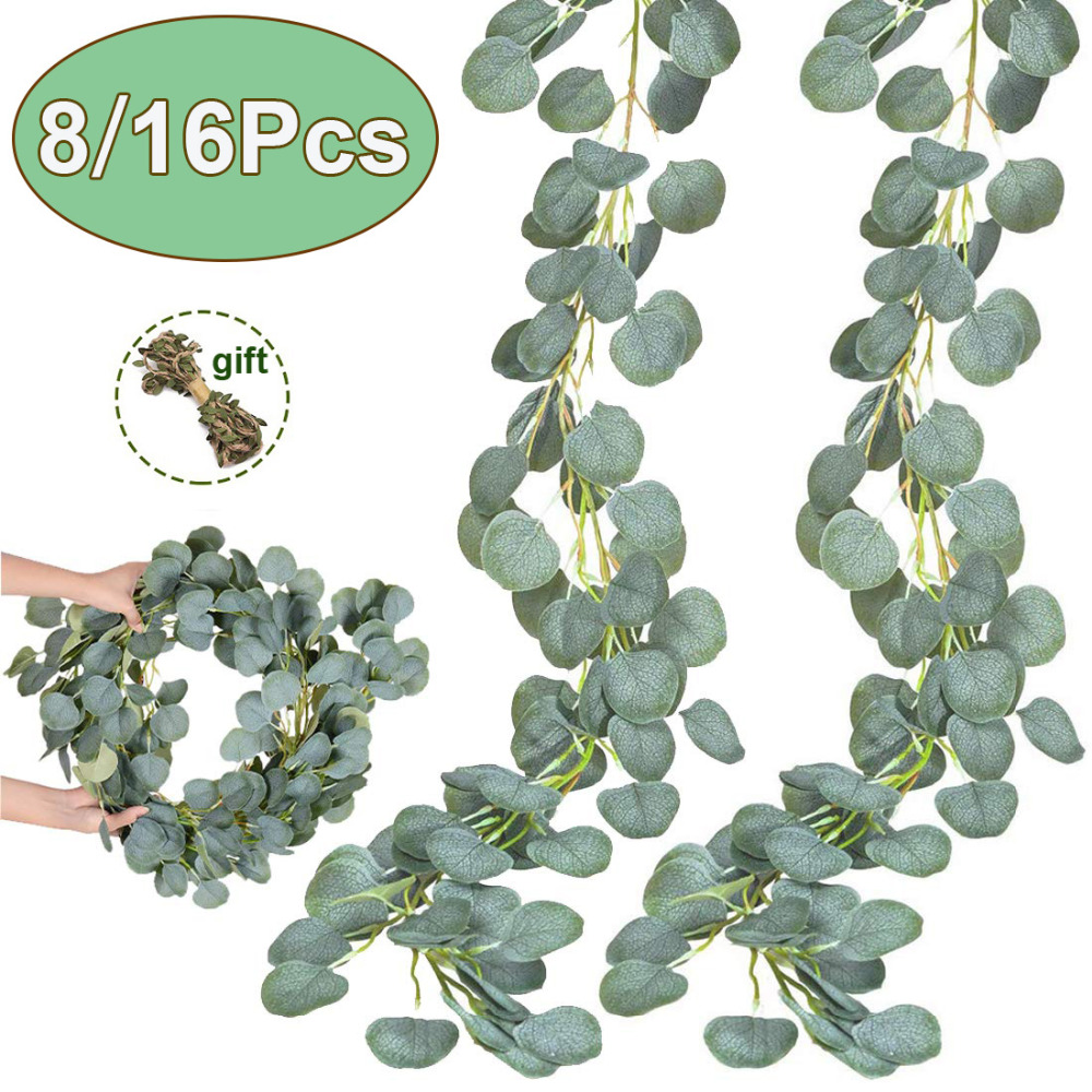 1M Artificial Eucalyptus Vines Christmas Greenery Garland for Wedding Backdrop Arch Wall Flower Table Runner Decor