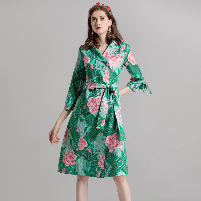 High quality autumn/winter fashion designer runway Long coat Women's Double Breasted Flower Print Vintage Bow Slim Long   Trench