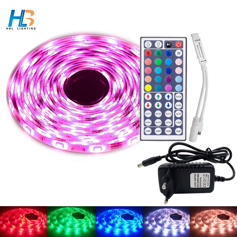 HBL LED Strip 5050 5M 10M 15M Led Ribbon RGB led strip Light non waterproof Flexible led tape IR Controller DC 12V adapter set riri won smd5050 rgb led strip waterproof led light dc 12v tape flexible strip 5m 10m 15m 20m touch rgb controller adapter