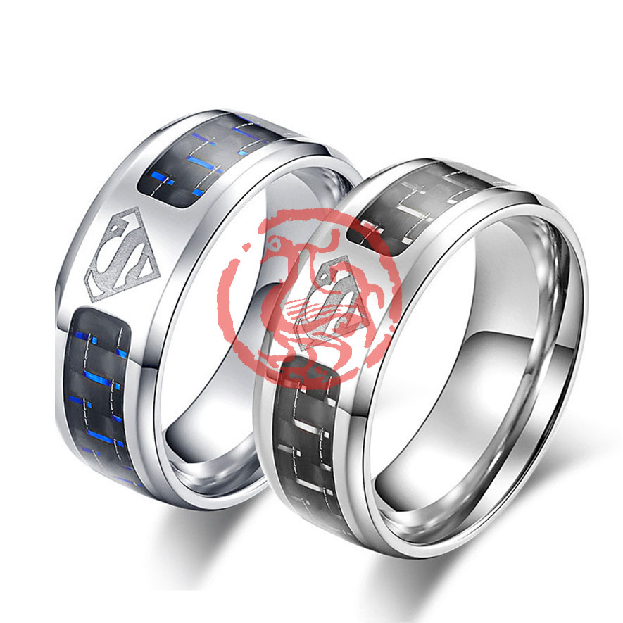Superman Symbol Couple Rings For Women Anillos Mujer Fashion
