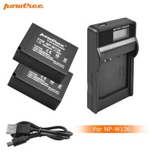 2X 7.2V 1600mAh Li-ion NP-W126 Camera Battery+Battery Charger with LED For Fujifilm FinePix HS30EXR HS33EXR X-Pro1 X-E1 L50