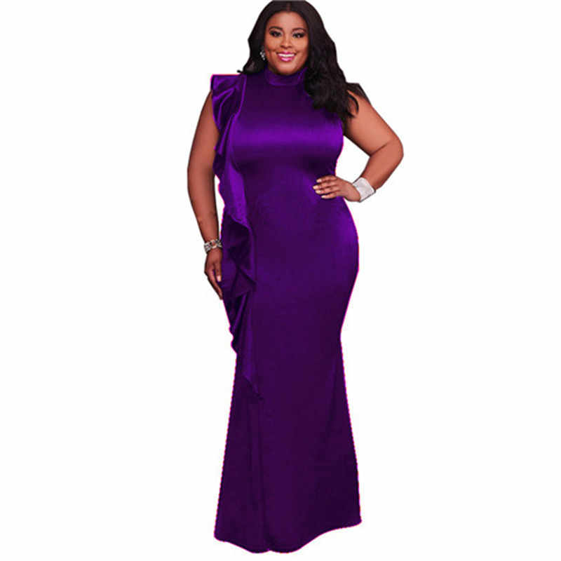 b17d634f110 Detail Feedback Questions about Purple Black Blue Wine Ruffles Details Plus  Size Maxi Dress New String Style Elegant Woman Party Wear Gown Dresses XL  XXXXL ...