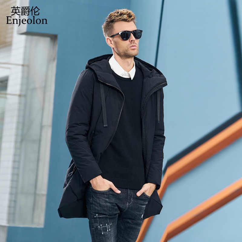 Enjeolon, брендовая зимняя куртка, Мужская длинная парка, толстая шапка, парка, пальто, Мужская стеганая зимняя куртка, пальто, одежда MF0060