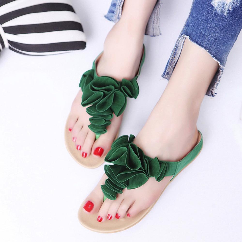 7205130d73bb67 Noir Plage Pantoufles Noir Solide Youyedian Causal Femmes vert rose Vert  Floral Mode Tongs Diapositives Plates Chaussures D'été De xCqwY7CO