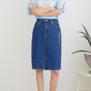 Image 5 - LEIJIJEANS New Arrival All season stretchy Knee length Embroidery Denim Skirts Plus Size Fashion Blue A line bule Women Skirts