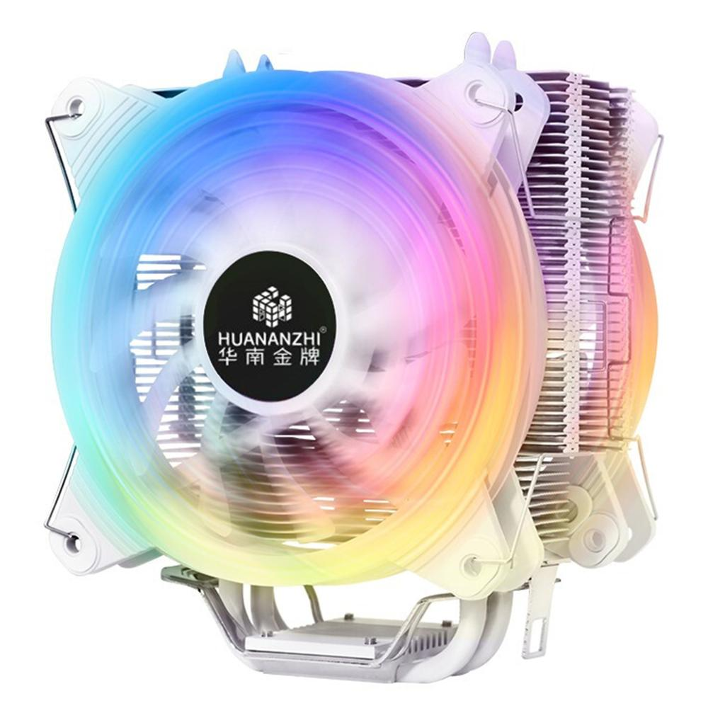 HUANANZHI ICE A600 4 heatpipes CPU cooler for Intel/AMD pure aluminum 4 tubes dual fan LED CPU radiator noiseless CPU fan image