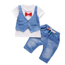 Bambin enfants bébé garçons tenues carters chine magasin officiel à manches courtes t-shirt + pantalon Gentleman vêtements ensemble JAN15(China)