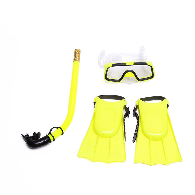 Çocuk Silikon Şnorkel Maskesi yüzme gözlükleri Dalış Sualtı Tüplü Maskeleri Şnorkel Dalış Yüzgeçleri Set Çocuklar 3 ADET dalış ekipmanları
