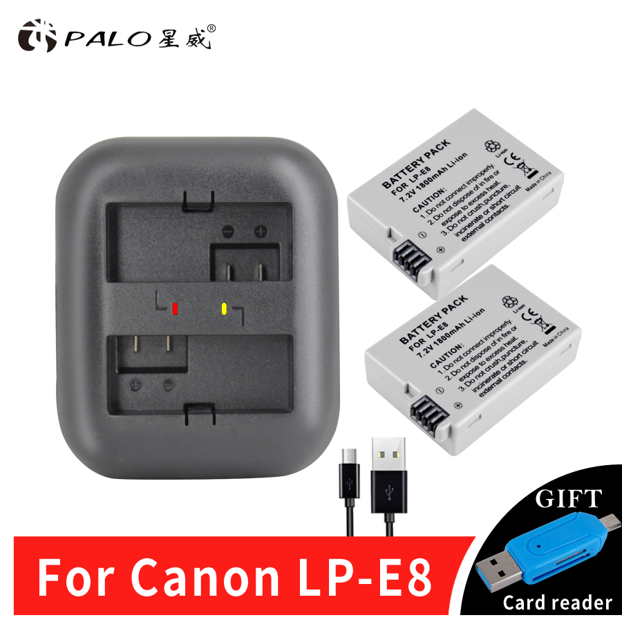 2 unids 1800 mAh LP-E8 LPE8 LP E8 batería AKKU + indicador cargador para Canon EOS 550D 600D 650D 700D X4 X5 X6i X7i T2i T3i