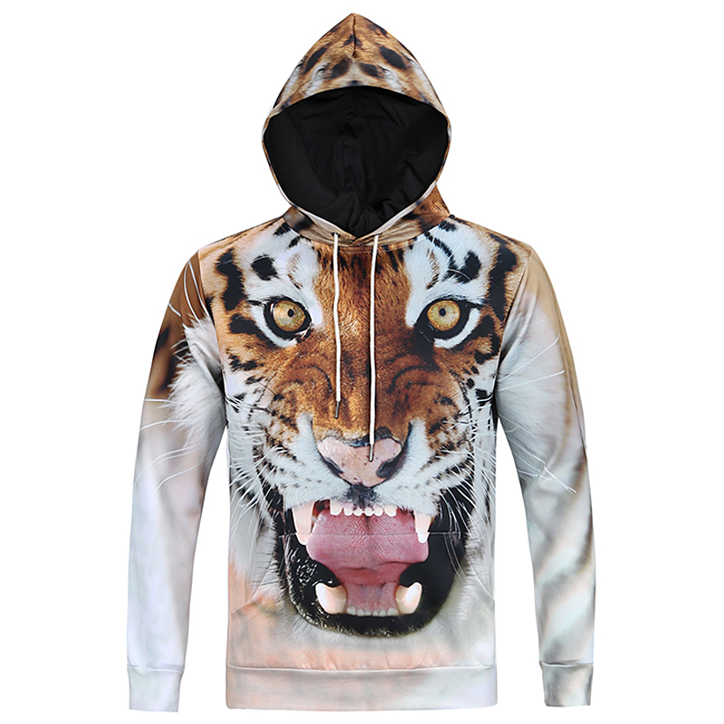 Tiger Sweatshirt 3d Harajuku Hoodies Men Long Sleeve Hooded Pullover Hip Hop Swag Streetwear Boys Fashion