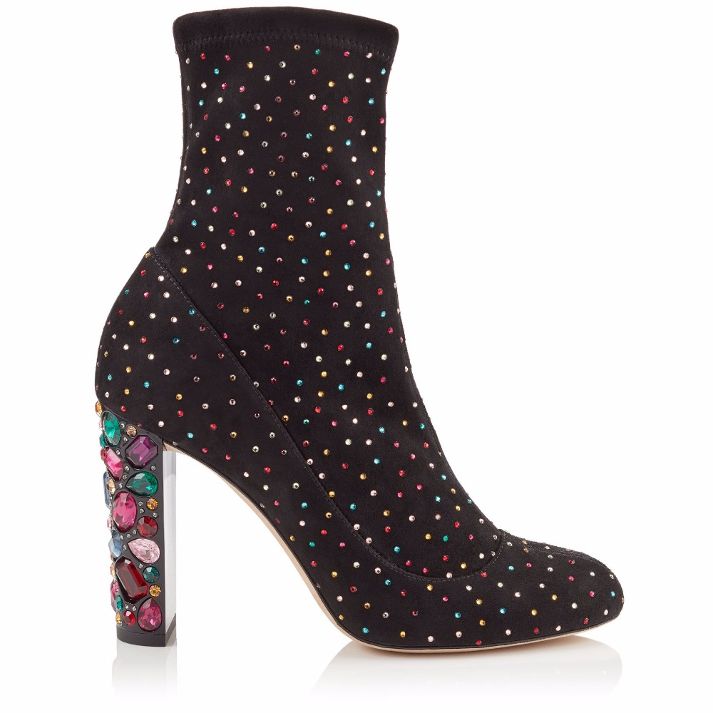 Multi Mujeres Nueva Long Moda Marca Boots Botines largas Negro black as Talones Crystal Tramo Pic Altos Botas Gamuza Embellecido De Color Oficina Cortos Ol Zapatos Diseño multiple ArBrxqa0w