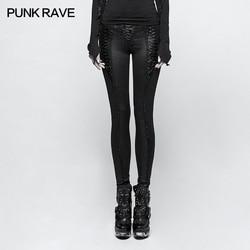 Брюки леггинсы черные с узорами барокко и шнуровкой элегантный Ари панк Рок клуб Мода визуальный Kei K291
