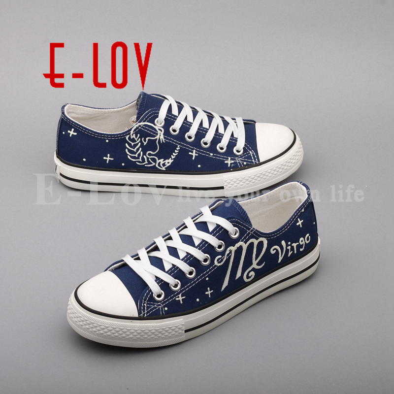 E-LOV Unique Hand Painted Constellation Canvas Shoes Graffiti Luminous Virgo Casual Flat Shoes Low Top Espadrilles e lov new arrival luminous canvas shoes graffiti pisces horoscope couples casual shoes espadrilles women