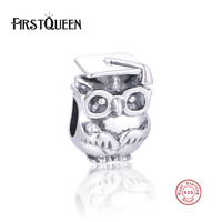 FirstQueen 2017 Graduation Owl Charms 925 Sterling Silver Fit Original Brand Charm Bracelets Bangles Fine Jewelry