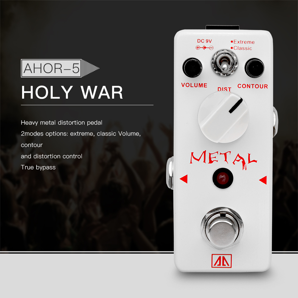AROMA AHOR-5 Classic Heavy Metal Distortion Guitar Effect Pedal 2 Modes Aluminum Alloy Body True Bypass nux metal core distortion stomp boxes electric guitar bass dsp effect pedal 2 metal hardcore sound true bypass