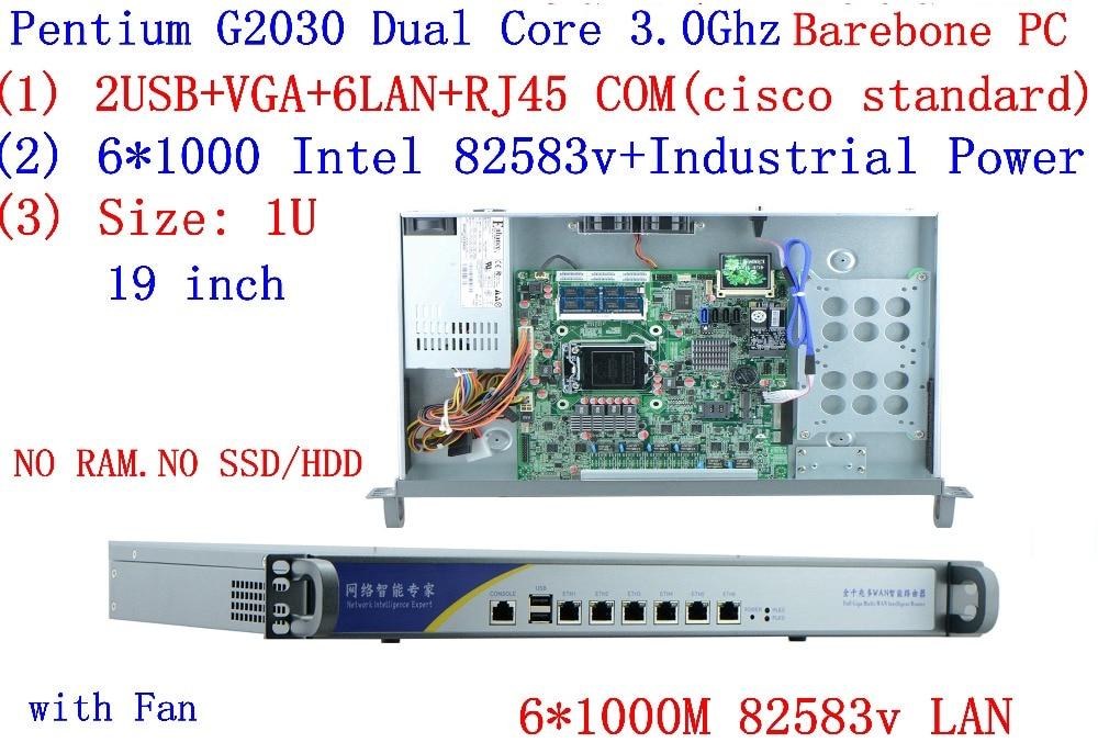 1U Server Network  6*inte 1000M 82583V LAN Intel Pentium G2030 3.0Ghz Support ROS Mikrotik PFSense Panabit Wayos Barebone PC