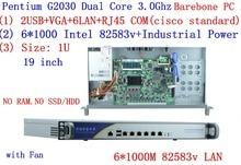 support ROS Mikrotik PFSense Panabit Wayos 1U server network with 6*inte 1000M 82583V LAN Intel Pentium G2030 3.0Ghz Barebone PC