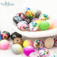 8MM Flower Glazed Ceramic Round Faceted Beads For Jewelry Making Bracelet DIY Accessories Loose Spacer Porcelain Bead Wholesale