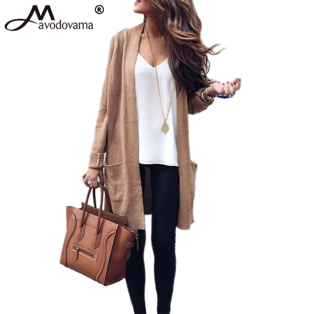 Knitted Sweater Pocket-Cardigan Long-Sleeve Solid-Color Fashion Avodovama-M Open-Stitch