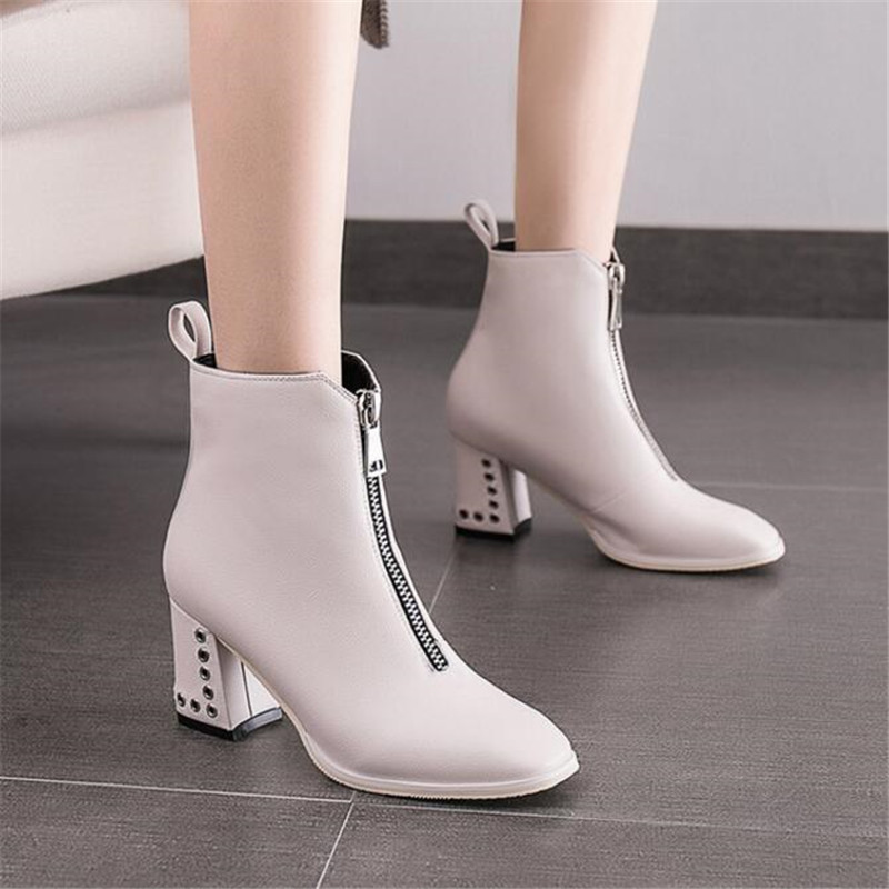 White booties female autumn and winter new England front zipper boots high heels thick with womens