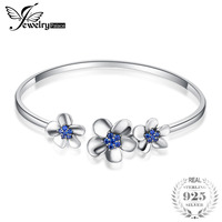 JewelryPalace New 3 Sleek Daisy 0.5ct Created Blue Spinal Adjustable Cuff Bracelet Bangles For Women 925 Sterling Silver Jewelry