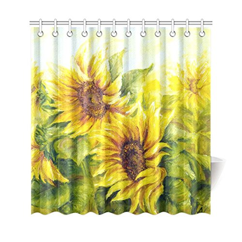 WARM TOUR Sunny Sunflowers Oil Fashion Shower Curtain Polyester Curtain  Hotel/Bathroom With Hooks Ring72''X72''Inch - Sunflower Shower Curtain Hooks Promotion-Shop For Promotional