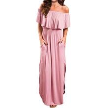 цена на Women Off The Shoulder Party Maxi Long Dress Side Split Ruffles Evening Party Beach Dresses Beach Sundress With Pockets