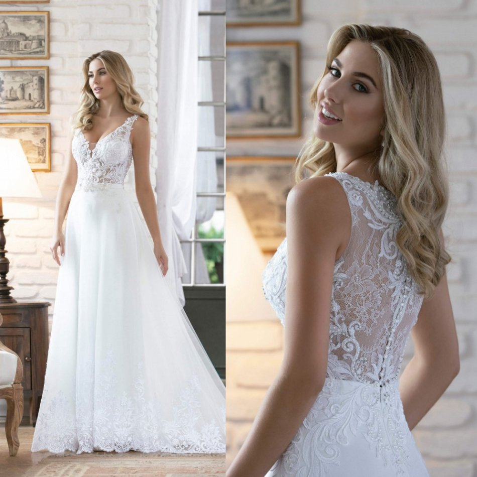 2020 Wedding Dresses V-Neck Sleeveless Lace Appliques Beads Bridal Gowns Custom Made Sweep Train Wedding Dress