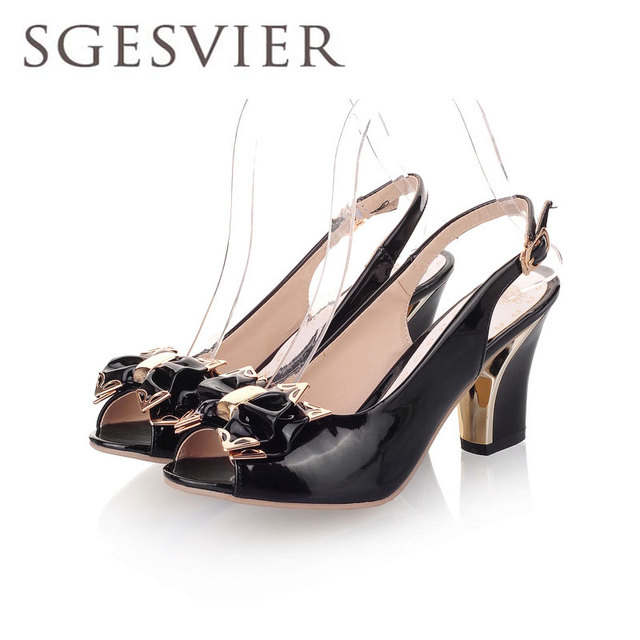 SGSGESVIER women sandals Sexy Thick High Heel Patent leather open toe Peep Toes sweetness Wedding sandals Shoes size 34-44 OX006