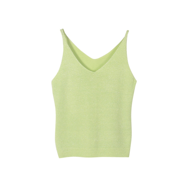 9colors Women Camisole Summer Icecream Camisole Bruiser Crop Top Glettering Knitted Stretch Slim Tank Top LM75