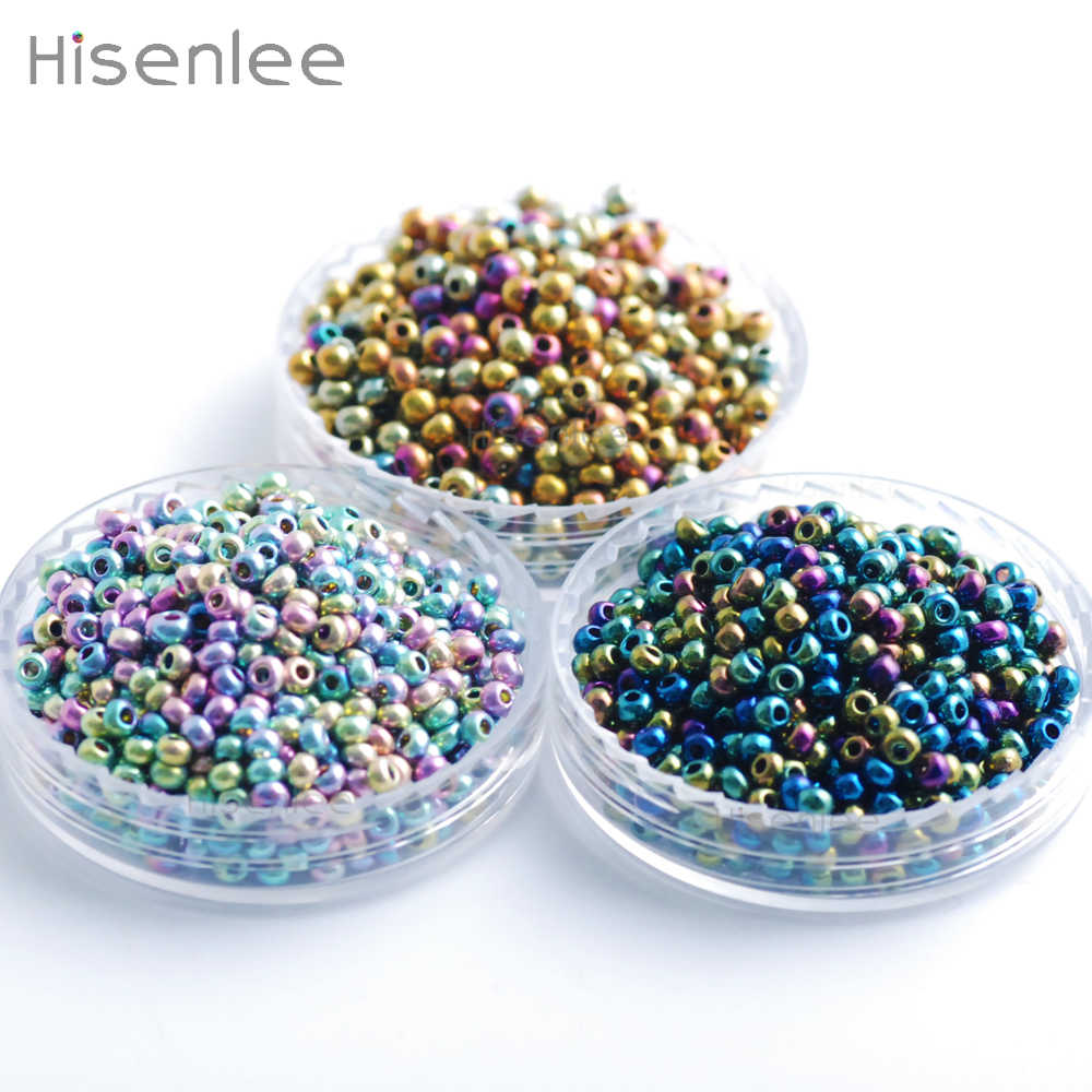 2 мм 3000 шт стеклянные бусины 3 вида разноцветных цветов Lustered круглые бусины Spacer DIY браслет ожерелье ювелирные изделия