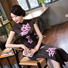 YZ Sexy Black Flower Plus Size XXXL Chinese Women Dress Satin Long Traditional Print Cheongsam Summer Vintage High Slits Qipao