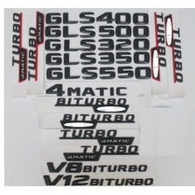 3D Matt Black Trunk Letters Badge Emblem Emblems Badges for Mercedes Benz GLS300 GLS350 GLS400 GLS500 V8 BITURBO AMG 4MATIC