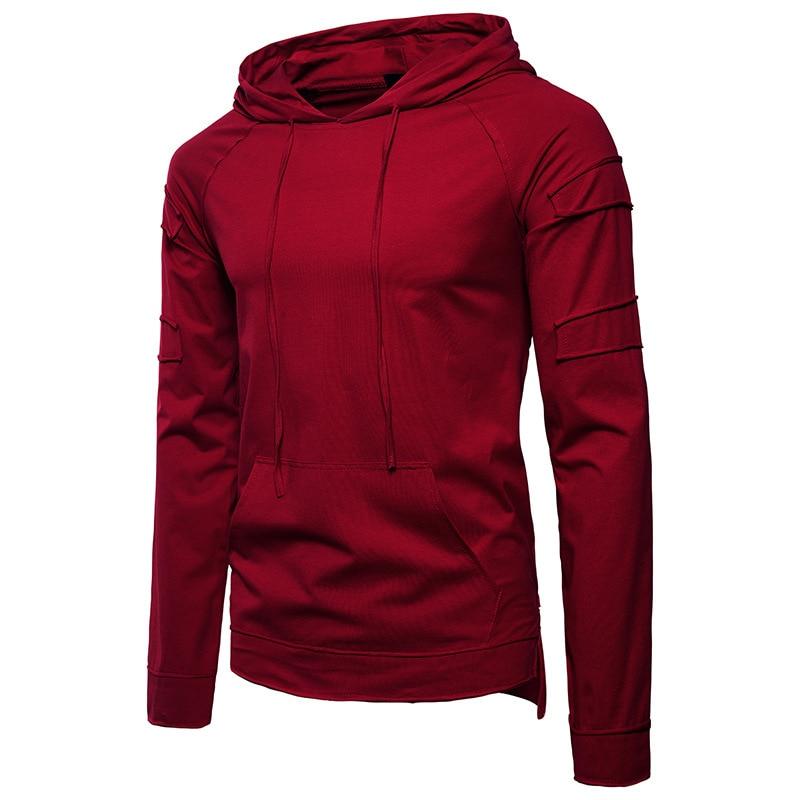 Mens clothing t shirts Hip Hop Fashion Solid Color Hood Design Hooded Long Sleeve TShirt 5colour