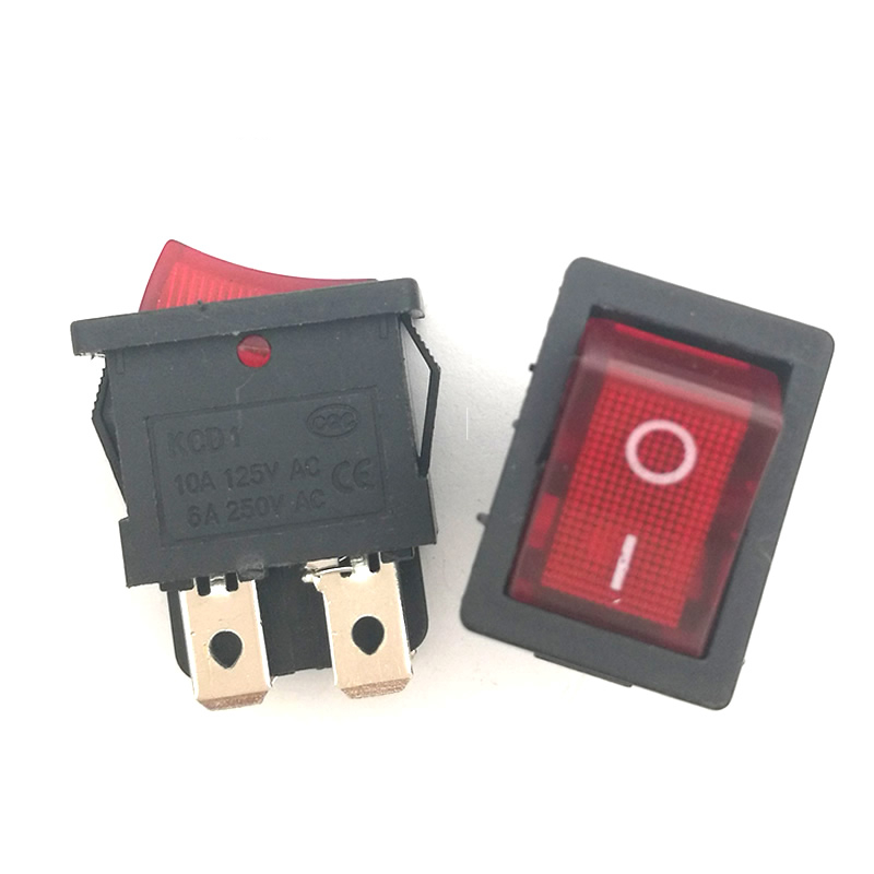 5pcs/lot Mini Boat Rocker Switch 6A 250V AC / 10A 125V AC 4 Pin ON-OFF I/O SPST Snap in with RED LED Light 15*21mm