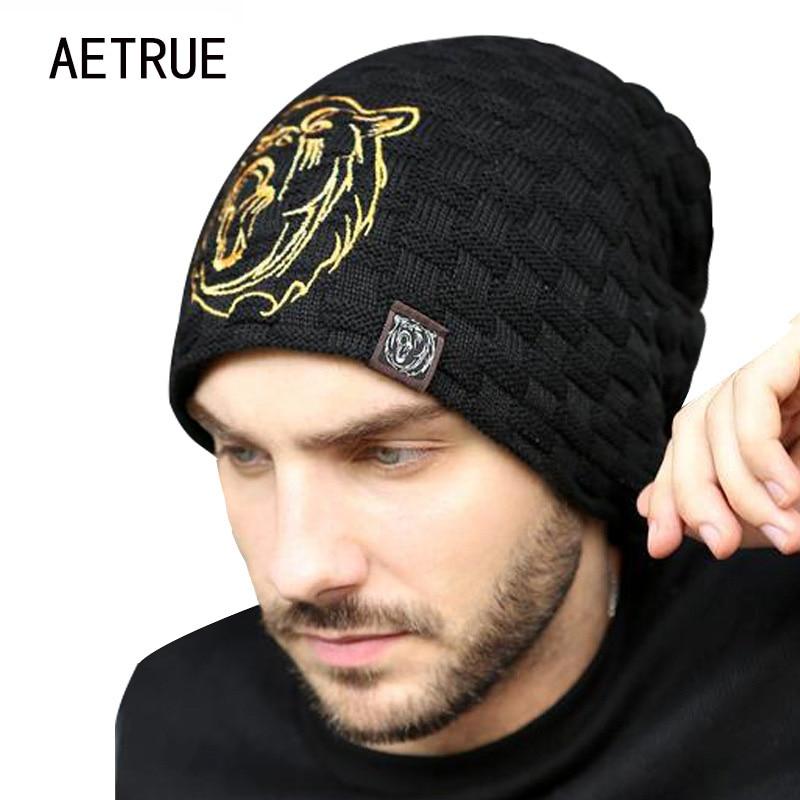 Beanies Tricot Hat bărbați pălării de iarnă pentru bărbați 2018 Brand Bonnet Skullies Hat de iarnă pentru bărbați blănuri calde Caps Mască craniu Balaclava Wolf Cap