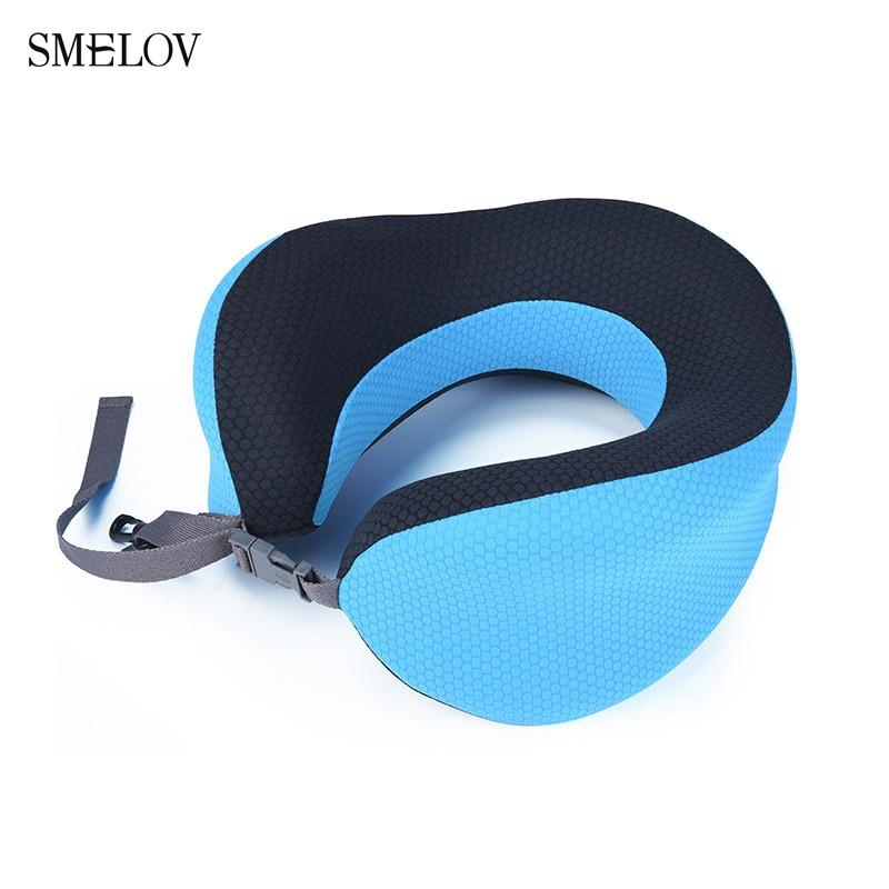 Smelov portable adjustable U shape travel pillow Slow rebound memory foam home office nap neck car Aircraft cushions blue