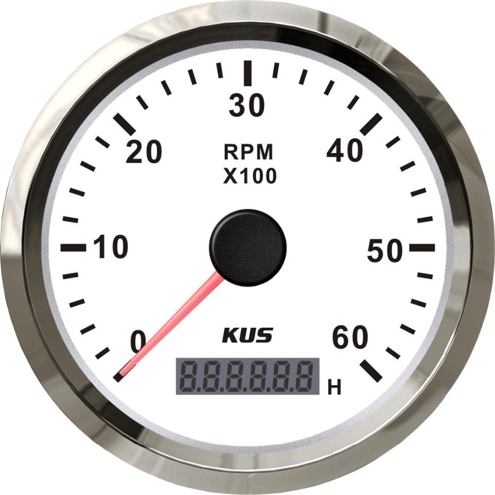 KUS Tachometer RPM Gauge REV Meter with Hour Meter 0-6000RPM 85mm 12V//24V with Backlight
