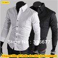 Free shipping Elegant designer long sleeve polka dot new mens dress slim fit shirt for men QR-1128