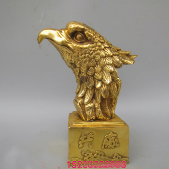large-Bring in wealth and treasure # office home shop business Money Drawing Mascot# Arabia Eagle FENG SHUI Brass statue