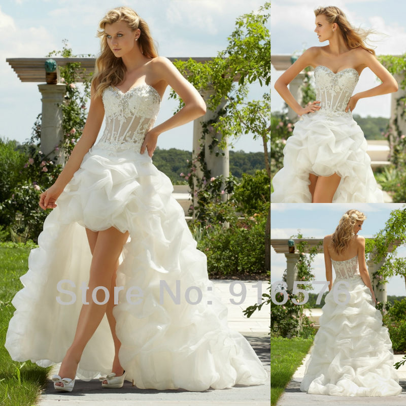 White Bridal Gown High Low Hem Wedding Dress A Line Beach Sweetheart Transpa Net Lique Ruffle Pleat Organza Beaded In Dresses From Weddings