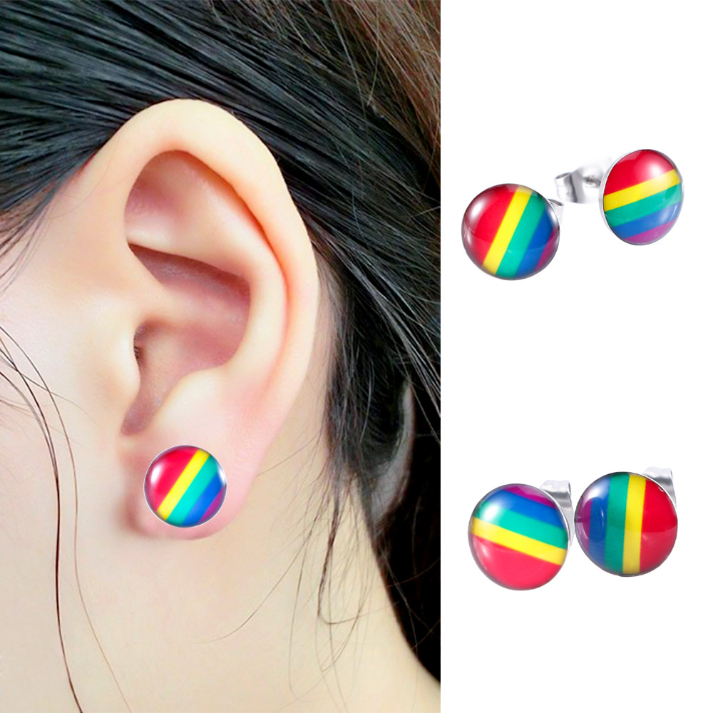 fashion Rainbow Flag LGBT Pride Charm earring stainless steel Weave Plaited gay